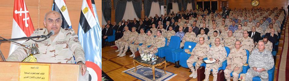 وزير الدفاع يلتقى بأعضاء هيئة التدريس ودارسى أكاديمية ناصر العسكرية