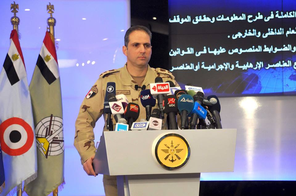 """المتحدث العسكري يطالب وسائل الإعلام بـ تحري الدقة فيما يتم تناوله بشأن """" سيناء 2018 """""""