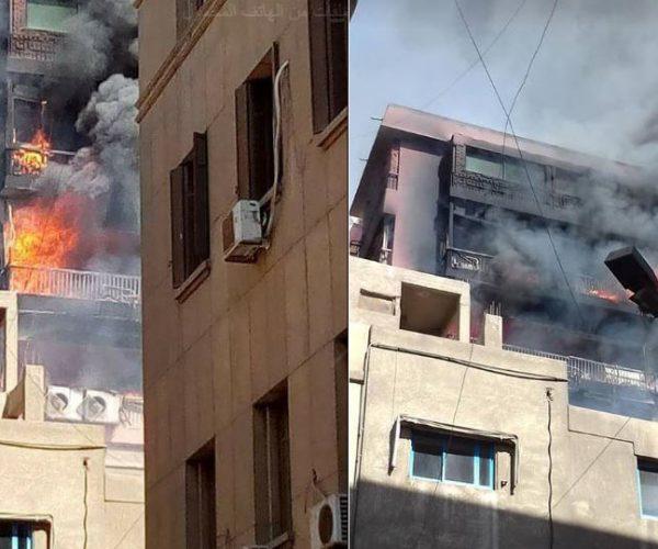 إصابة 3 مواطنين بالاختناق في حريق مستشفى الحسين الجامعي