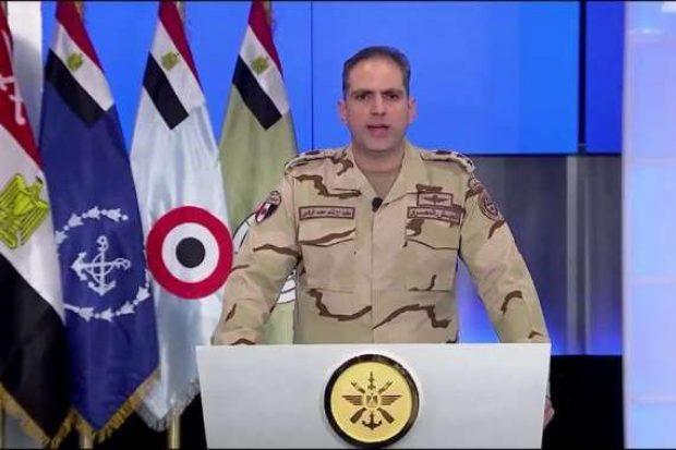 المتحدث العسكري : القضاء على 7 إرهابيين استهدفوا ارتكازا أمنيا في سيناء