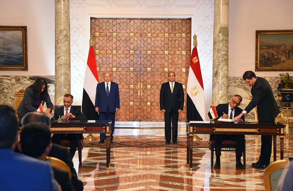 الرئيس السيسي وهادي يشهدان توقيع مذكرة تفاهم بين البلدين