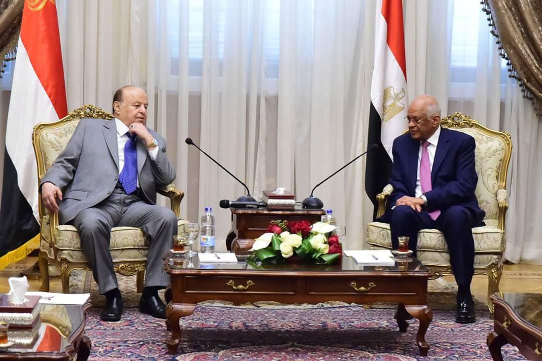 عبدالعال يستقبل الرئيس اليمني بمقر البرلمان
