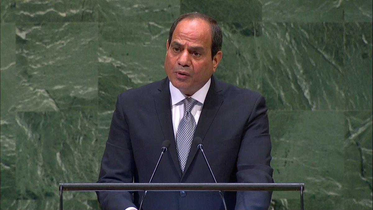 الرئيس السيسي : أيدينا ممدودة للسلام ومطلوب توفير إرادة لحل القضية الفلسطينية