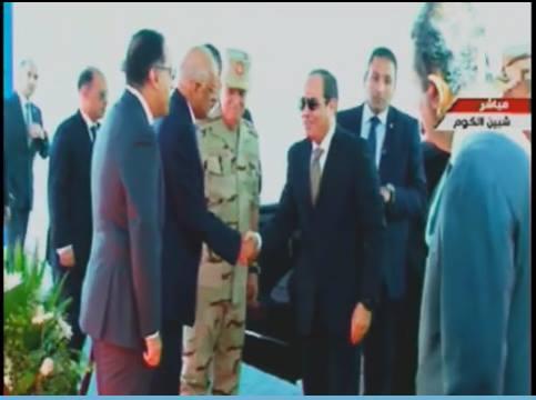 الرئيس  يصل إلى المستشفى العسكري بالمنوفية تمهيدا لافتتاحها