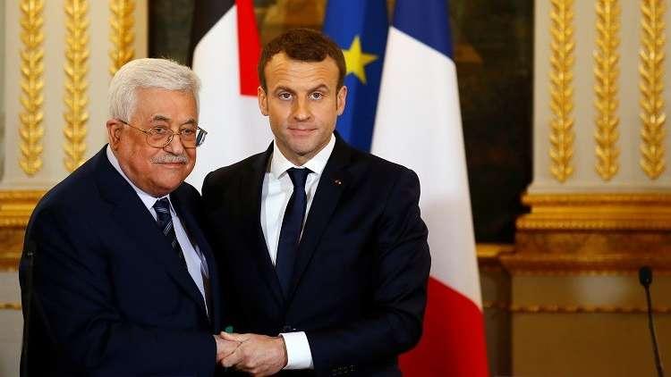 ماكرون خلال لقائه عباس : فرنسا تدين سياسة الاستيطان الإسرائيلية