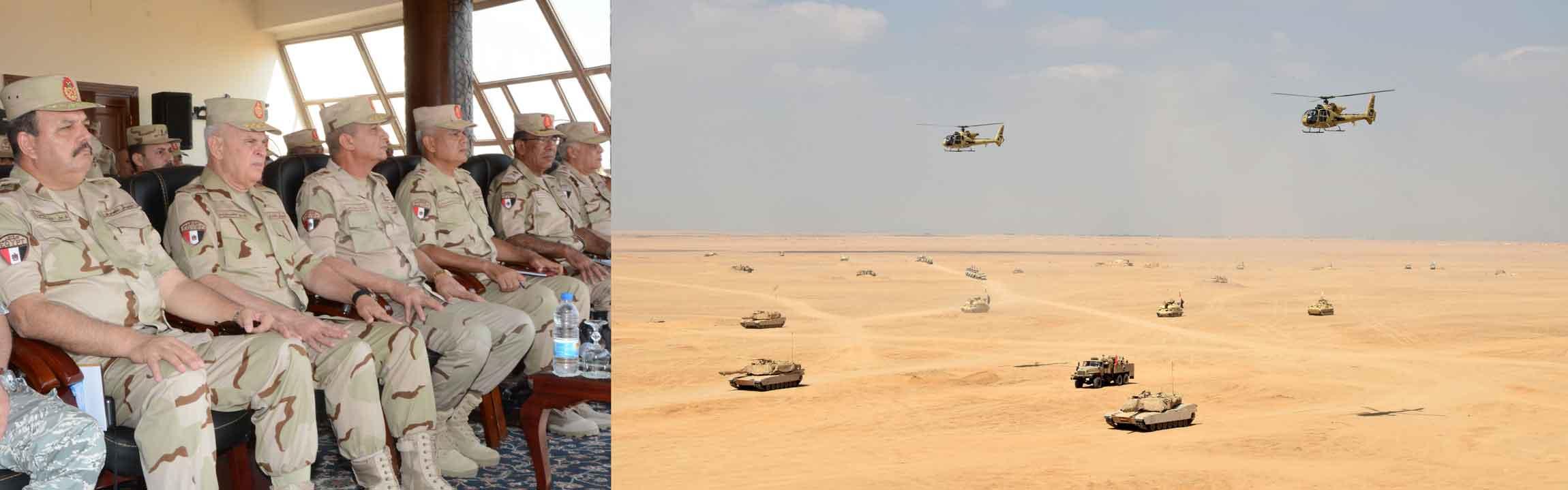 """وزير الدفاع يشهد المرحلة الرئيسية للمناورة التكتيكية """" نصر – 14″"""