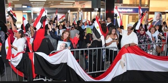 الجالية المصرية في ألمانيا يتجمعون أمام مقر إقامة الرئيس السيسي ببرلين