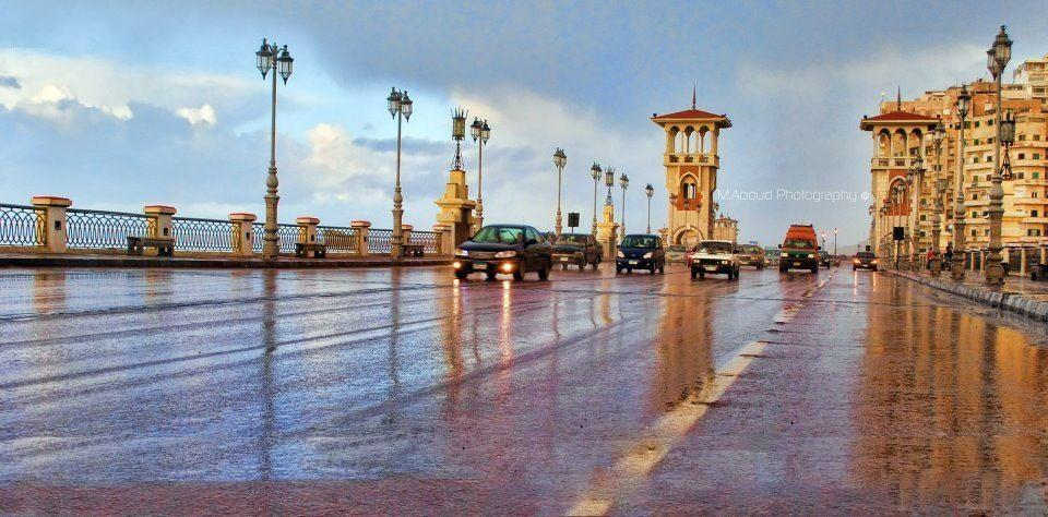 استمرار سقوط الأمطار الغزيرة على الإسكندرية لليوم الثاني على التوالي
