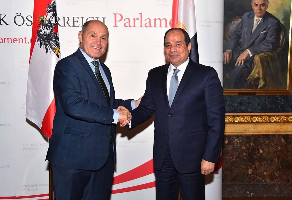 صور | الرئيس يستعرض رؤية مصر بمكافحة الارهاب مع رئيس البرلمان النمساوي
