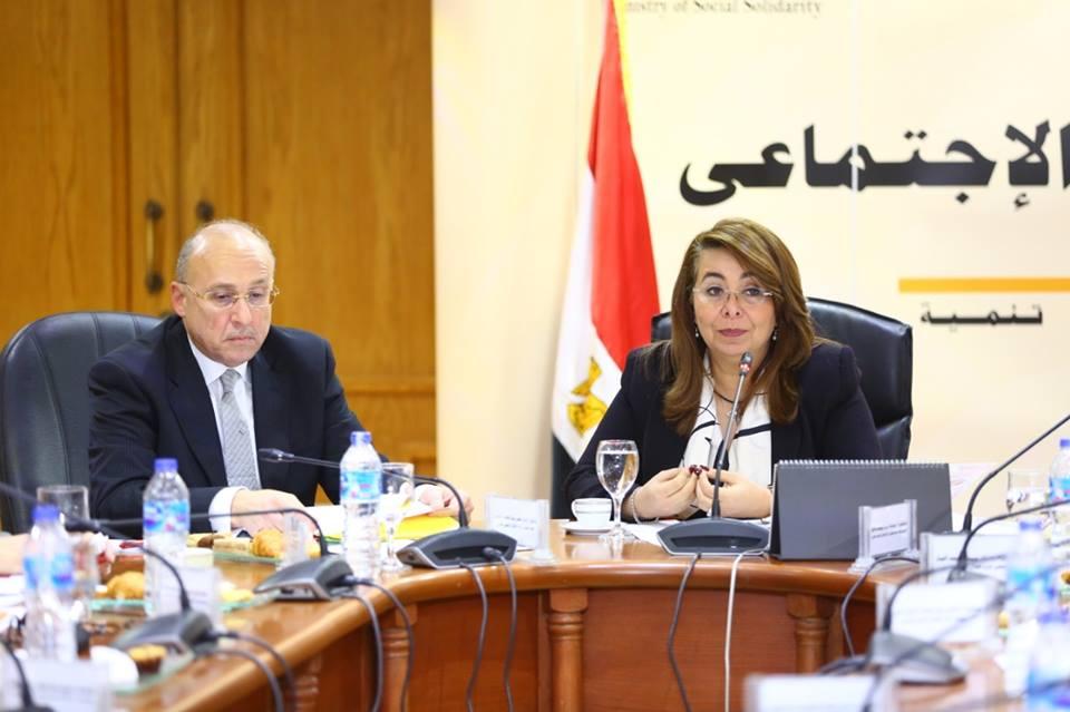غادة والى تجتمع مع قيادات الهلال الأحمر المصرى لتطوير بنوك الدم