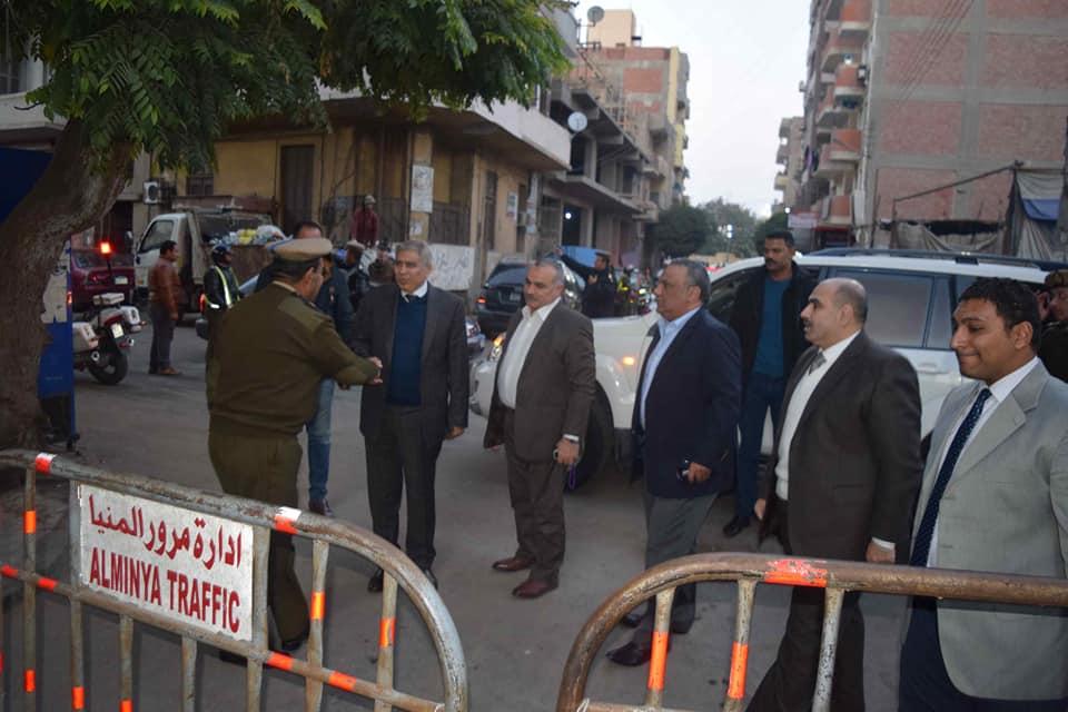صور | جولة تفقدية لمحافظ ومدير أمن المنيا لمتابعة إجراءات تأمين الكنائس