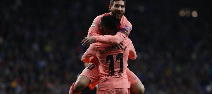 صور و فيديو| ميسي يقود برشلونة للفوز علىاسبانيولبرباعية بالدوريالاسباني
