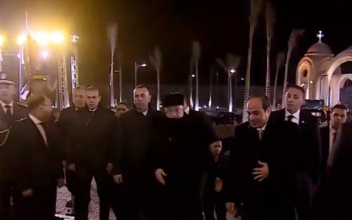 الرئيس السيسي ونظيرة الفلسطيني يفتتحان كاتدرائية «ميلاد المسيح» بالعاصمة الإدارية