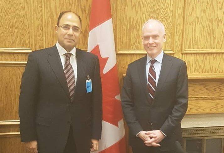 صور | سفير مصر بأوتاوا يبحث مع مستشار رئيس الوزراء الكندي سبل التعاون المشترك