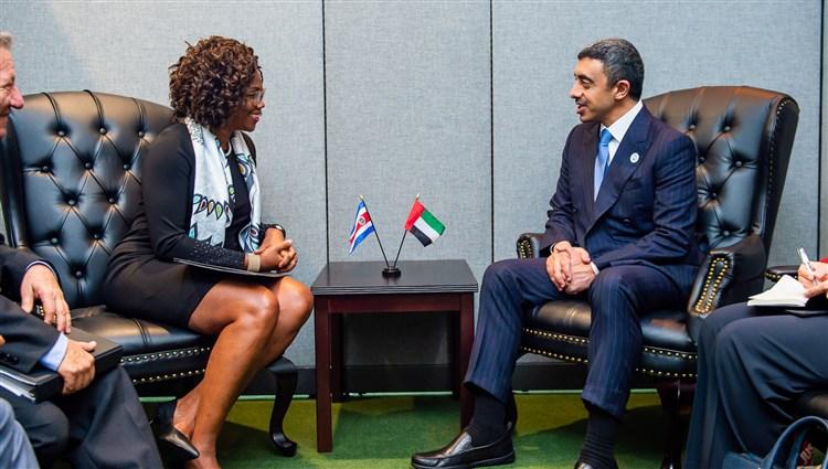 وزير الخارجية الإماراتي يبحث مع نائبة رئيس كوستاريكا سبل تعزيز العلاقات الثنائية
