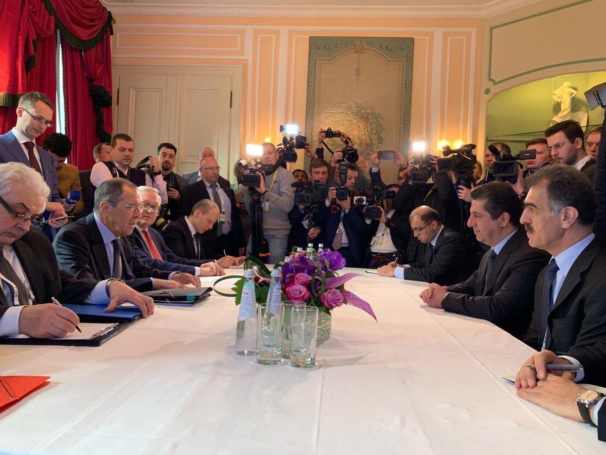 صور | لافروف يلتقي المرشح لمنصب رئيس وزراء كردستان العراق خلال مؤتمر ميونخ