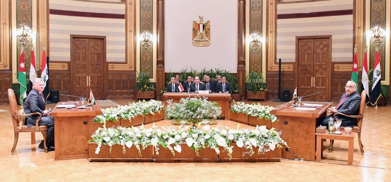 صور| البيان الختامي المشترك للقمة الثلاثية المصرية الأردنية العراقية
