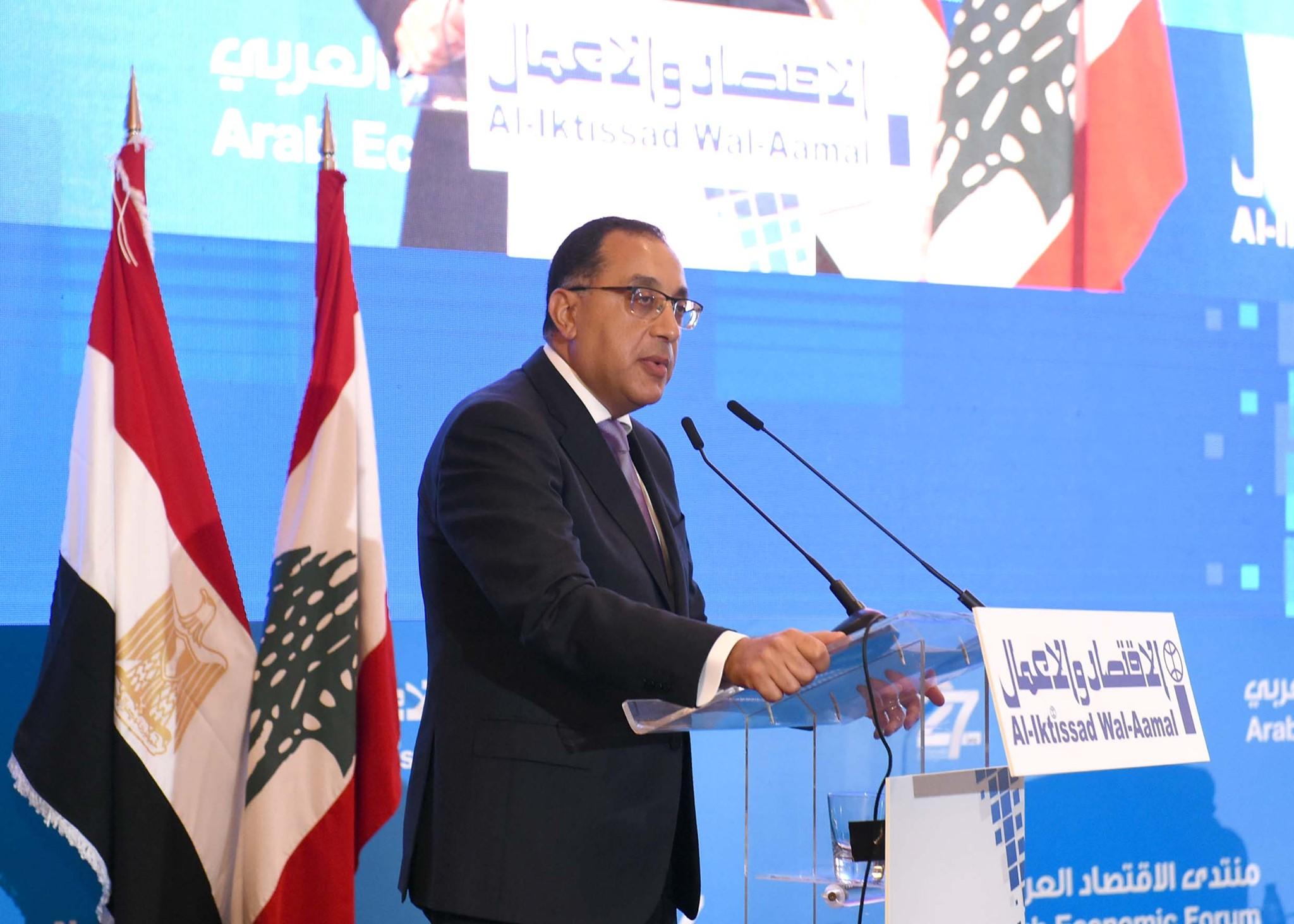 رئيس الوزراء: التكامل بين مصر ولبنان سيثمر عن دخول البلدين إلى أسواق جديدة