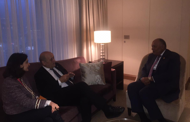 سامح شكري يقابل نظيره الفرنسي على هامش انعقاد قمة مجموعة العشرين