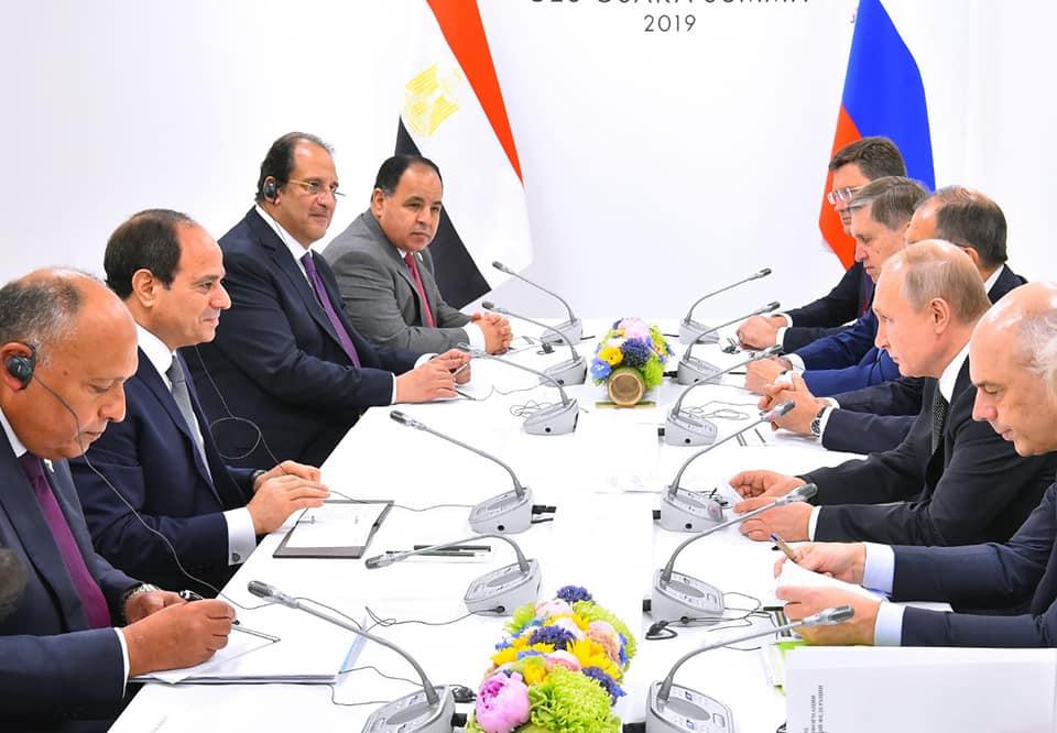 صور| الرئيس السيسي يلتقي نظيرة الروسي على هامش قمة مجموعة العشرين باليابان