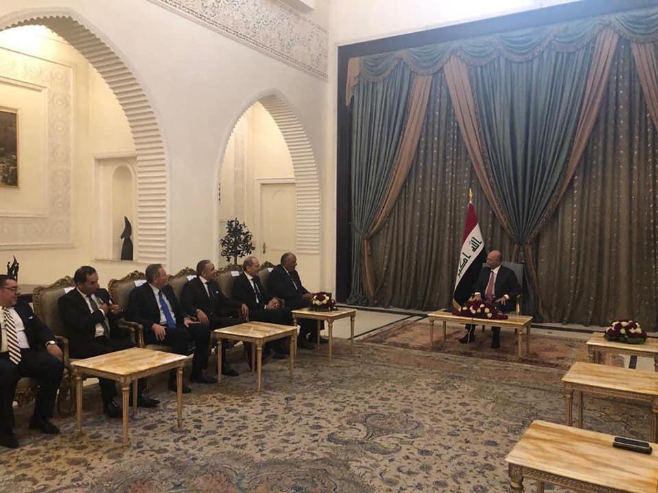 الرئيس العراقي يستقبل سامح شكري ونظيره الأردني لبحث سبل تعزيز العلاقات