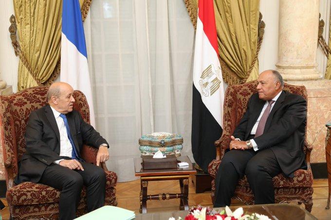 جلسة مباحثات بين وزير الخارجية ونظيره الفرنسي حول العلاقات الثنائية