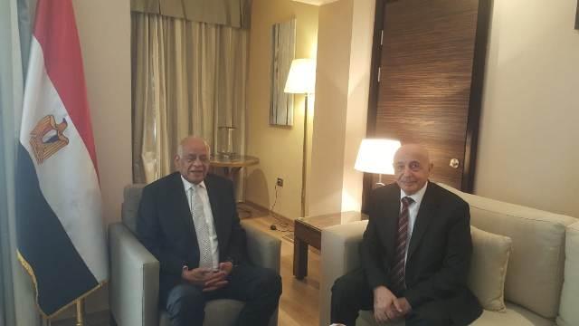 على عبدالعال يلتقى برئيس مجلس النواب الليبى على هامش مشاركته بمنتدى الشباب