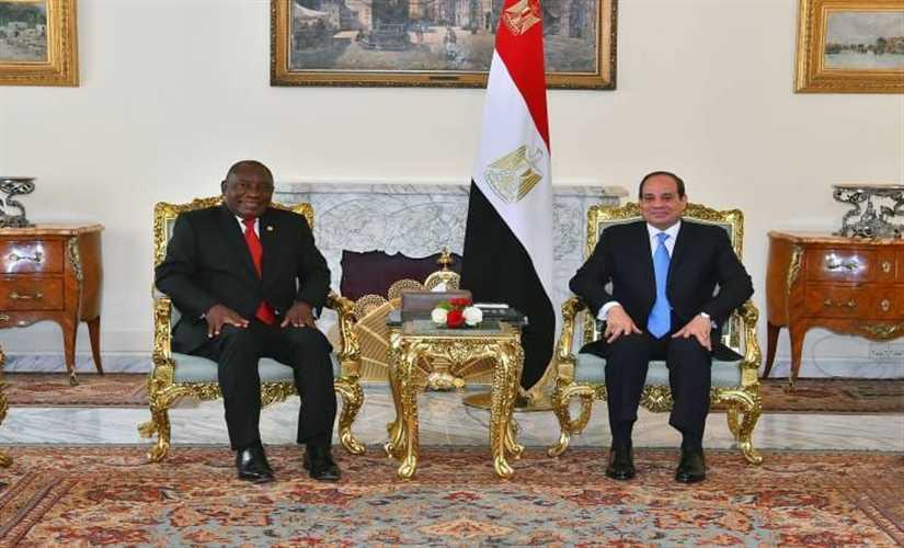 الرئيس السيسي يجري مباحثات مع نظيرة الجنوب أفريقي بقصر الاتحادية