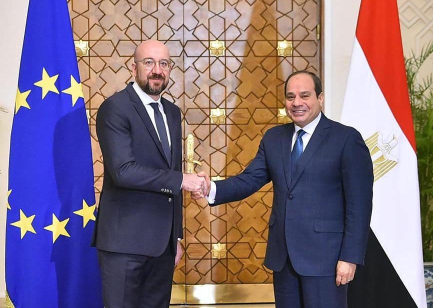 لقاء السيسي مع رئيس المجلس الأوروبي يتصدر عناوين الصحف