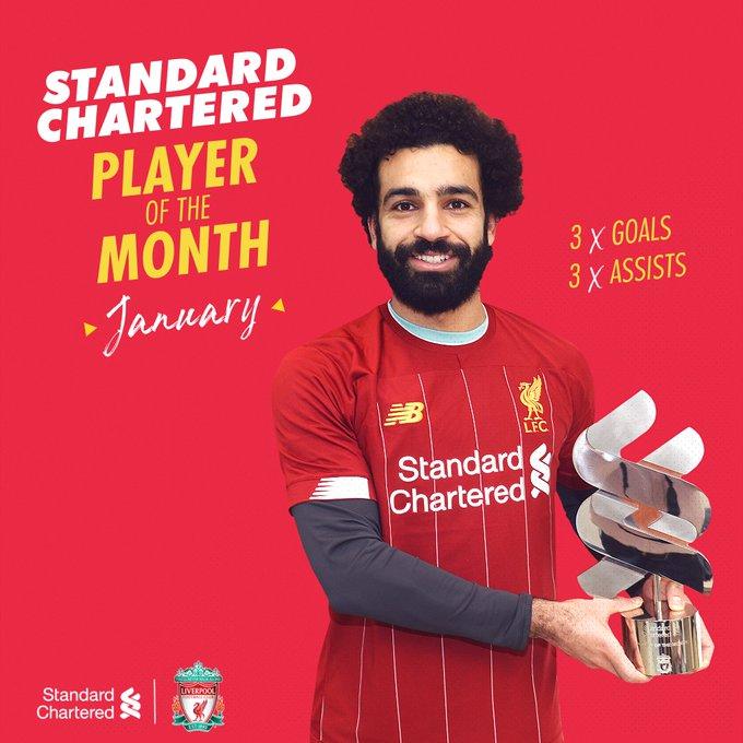 محمد صلاح يفوز بجائزة أفضل لاعب لشهر يناير