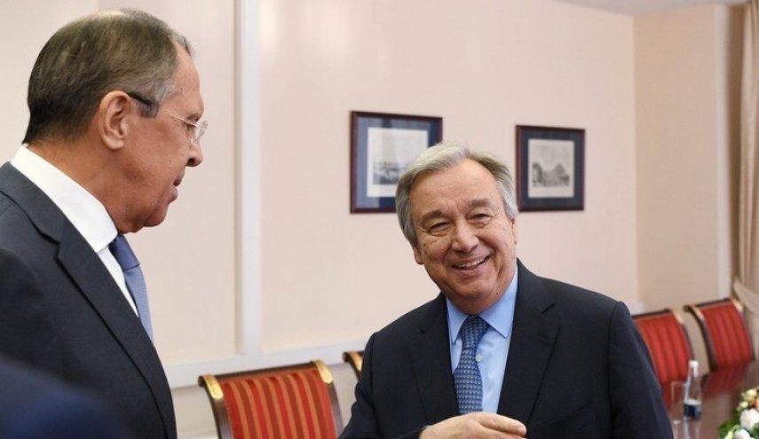 لافروف يبحث مع الأمين العام للأمم المتحدة الملف السوري والعلاقات المشتركة