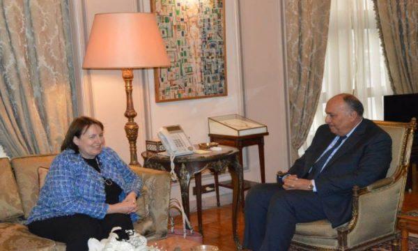 وزير الخارجية يستقبل المبعوثة الأوروبية لعملية السلام فى الشرق الأوسط