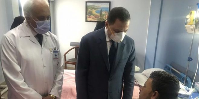 وزير الداخلية يزور أبطال الشرطة مصابي حادث الأميرية الإرهابي