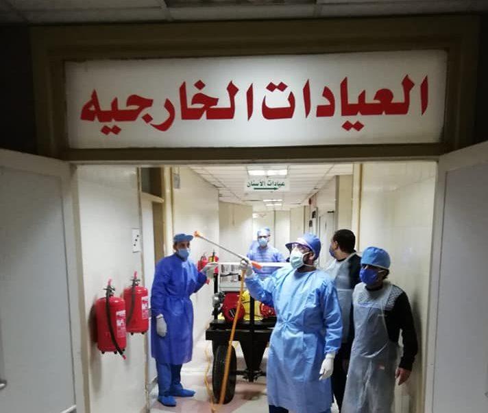 صور | المركز الطبى للإنتاج الحربى يواصل إجراءات التطهير للوقاية من كورونا