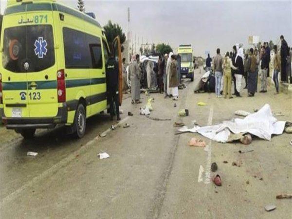 إصابة 16 شخصا جراء حادث انقلاب ميكروباص ببنى سويف