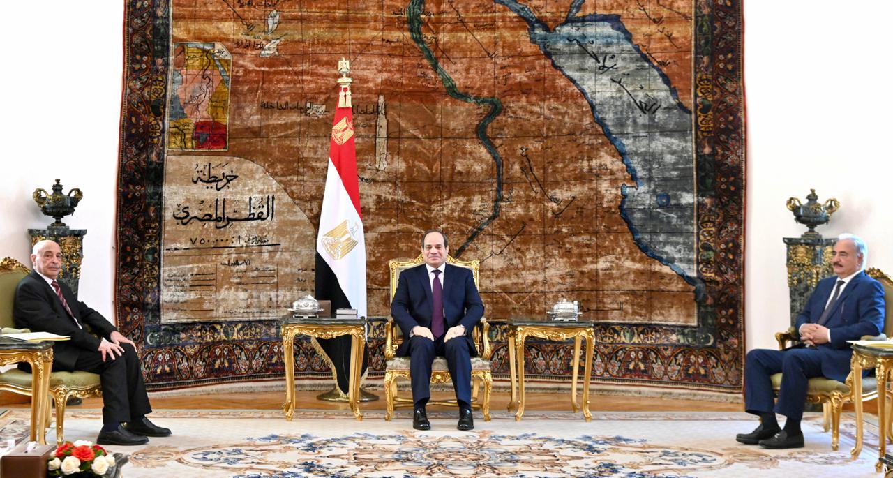 الرئيس السيسي يستقبل رئيس البرلمان وقائد الجيش الليبيين بالاتحادية