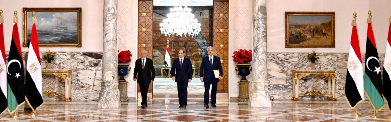 تفاصيل مباحثات الرئيس السيسي مع رئيس البرلمان وقائد الجيش الليبيين بالاتحادية