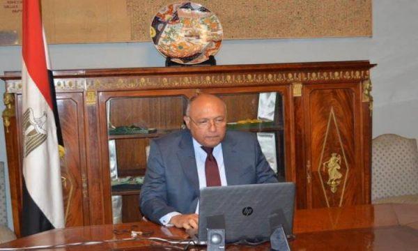 وزير الخارجية يبحث مع نظيره الفرنسى الأوضاع في ليبيا والقضية الفلسطينية