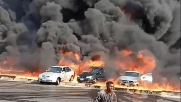 الصحة: 12 إصابة جراء حادث حريق طريق الإسماعيلية الصحراوي