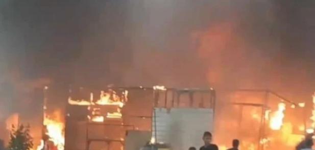 5 ملايين جنيه خسائر مبدئية جراء حريق سوق توشكى