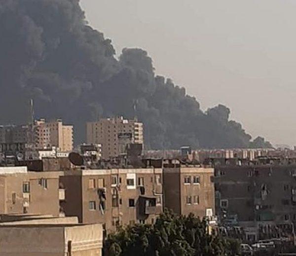 انتقال مساعدى وزير الداخلية لموقع حريق خط مازوت طريق الإسماعيلية