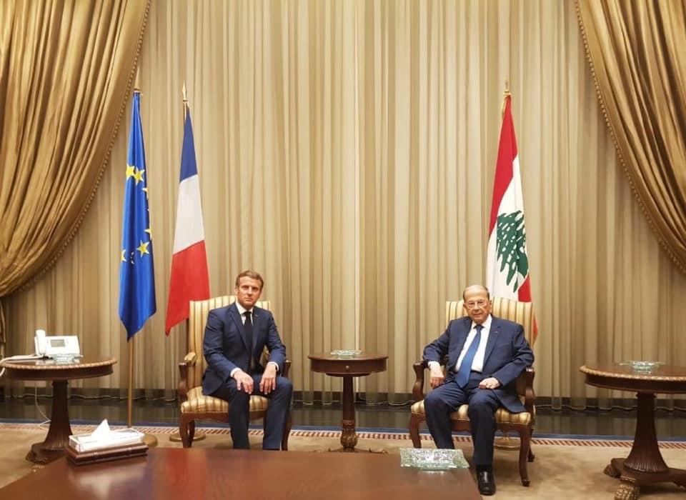 الرئيس اللبنانى يطلب من ماكرون صور الأقمار الصناعية لانفجار بيروت