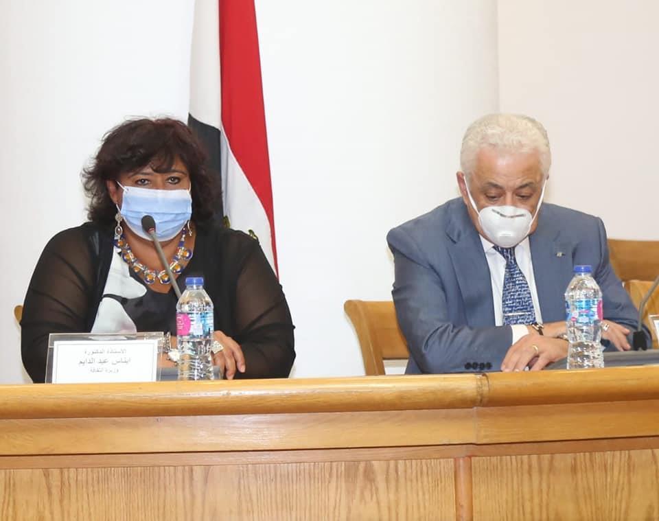 صور | وزيرة الثقافة تعلن المشاركة في بنك المعرفة بكنوز ونوادر الإبداع المصري