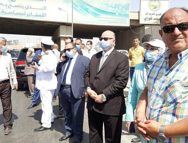 محافظ القاهرة يتفقد موقع حريق سيارة المواد البترولية على الدائري