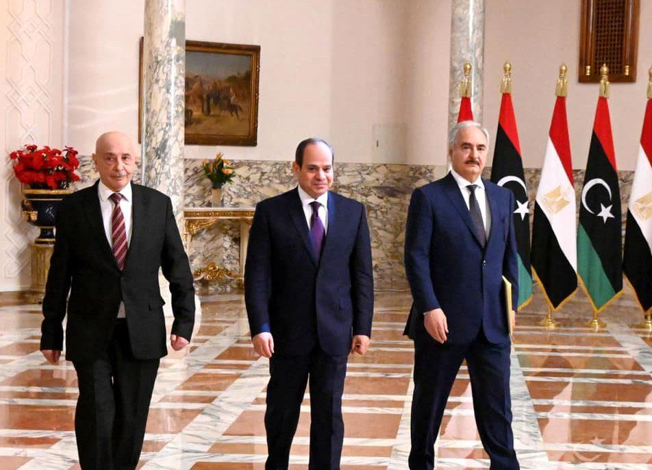 الرئيس السيسي يستقبل رئيس مجلس النواب الليبي والمشير  حفتر