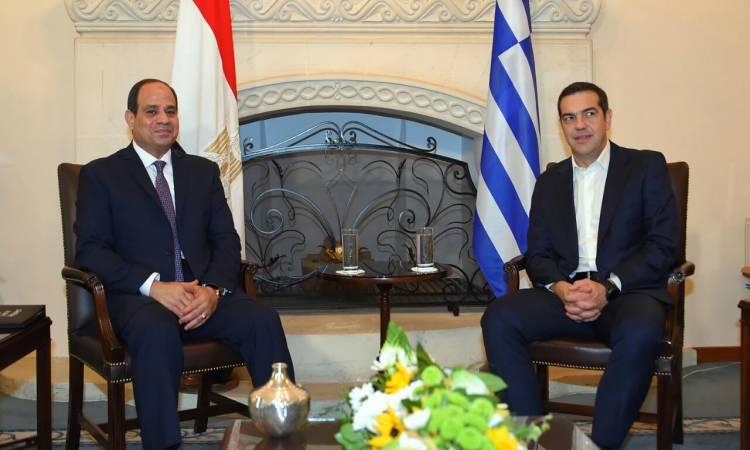 السيسي يبحث مع رئيس وزراء اليونان جهود مكافحة الإرهاب والمستجدات في المنطقة