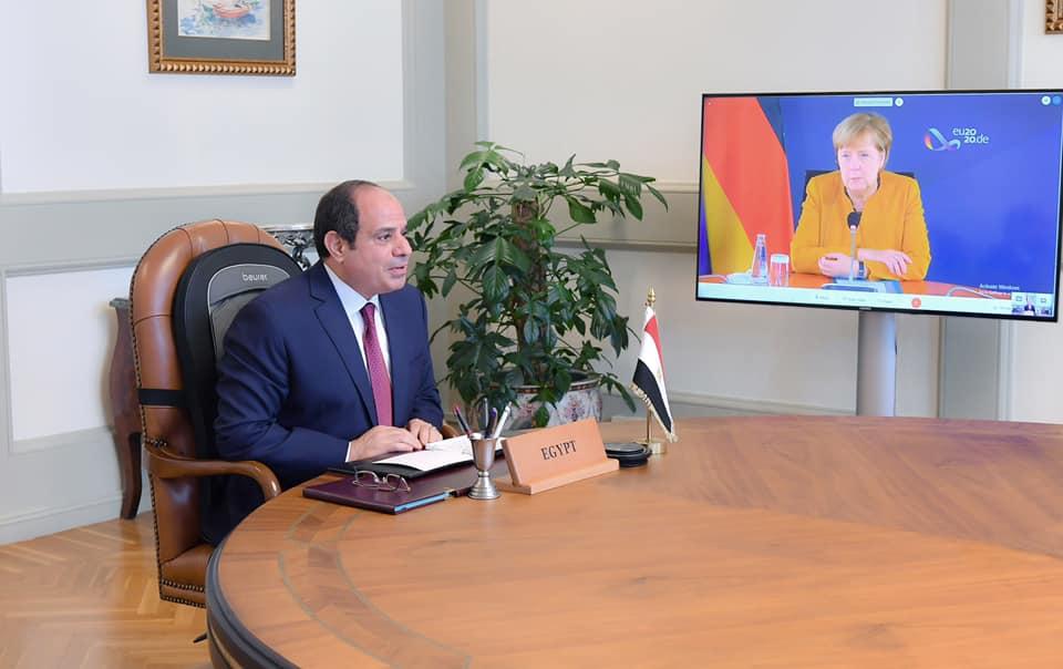 الرئيس السيسي يبحث مع أنجيلا ميركل عبر الفيديو كونفرانس سبل مواجهة الفكر المتطرف