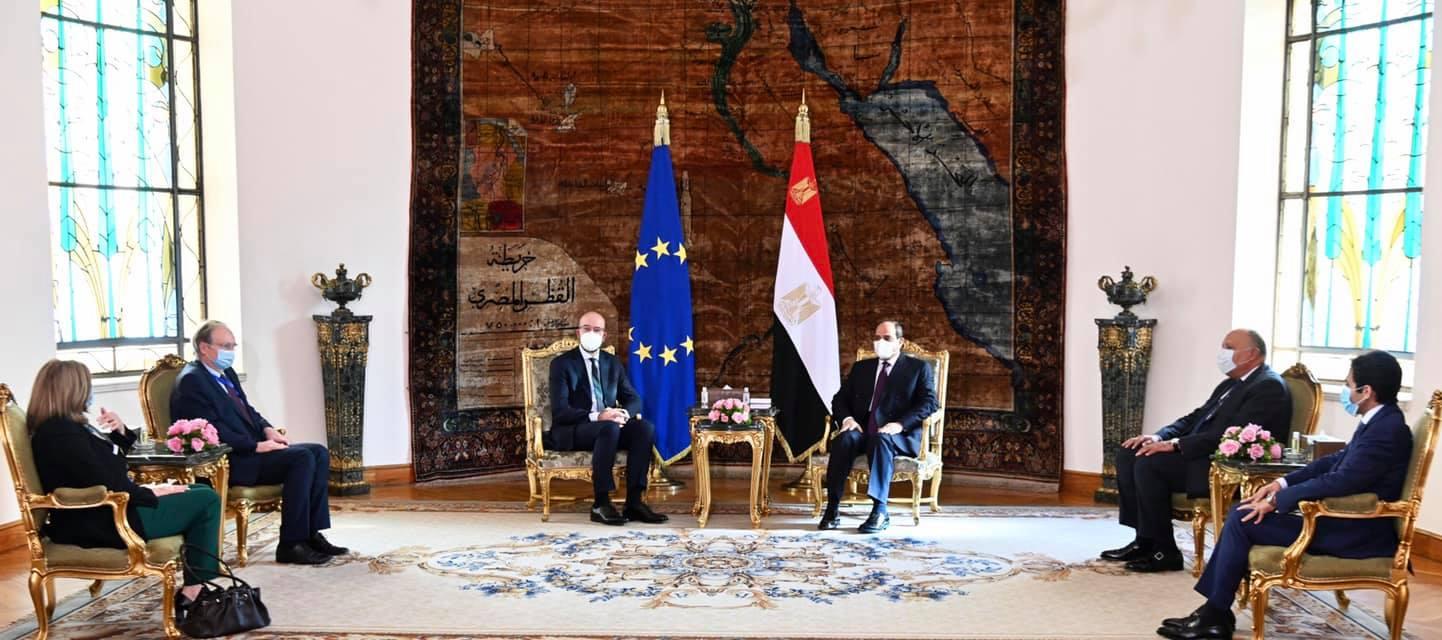 الرئيس السيسي يستقبل رئيس المجلس الأوروبي بقصر الاتحادية