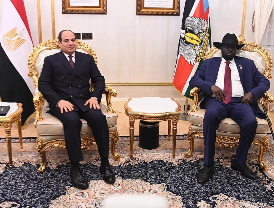 صور | مباحثات ثنائية فى القصر الجمهورى بجنوب السودان بين الرئيس السيسى وسلفاكير
