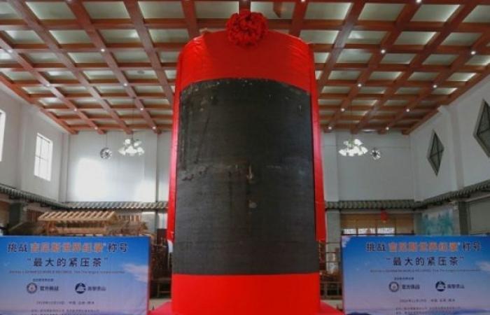 الصين تدخل موسوعة جينيس بأكبر عمود شاى مضغوط فى العالم